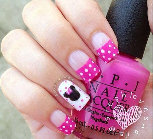 disney nails pink