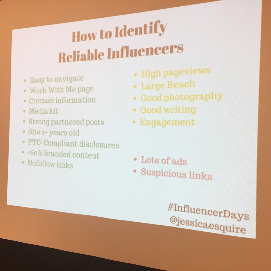 Great tips on finding the 'right' influencer via @jessicaesquire #InfluencerDays #readerfriendly https://t.co/kfDRmuGrLi