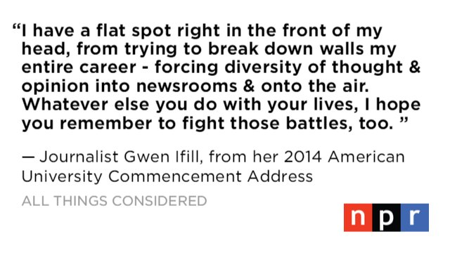 Remembering Journalist Gwen Ifill, who died earlier today. She was 61.  https://t.co/SDQZXLTiW7 https://t.co/IlEgaDkT3a