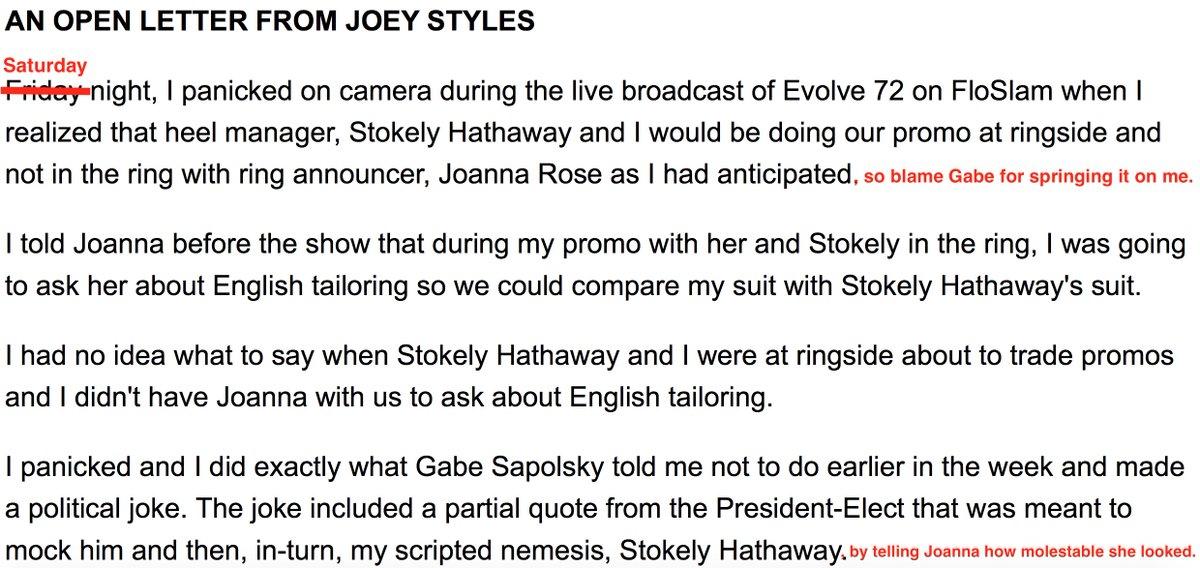Joey Styles Open Letter