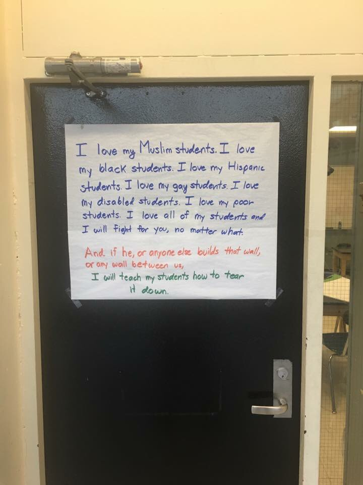 A dear old friend who is an NYC high school teacher posted this on his door at school today. https://t.co/P2oMt6w05v