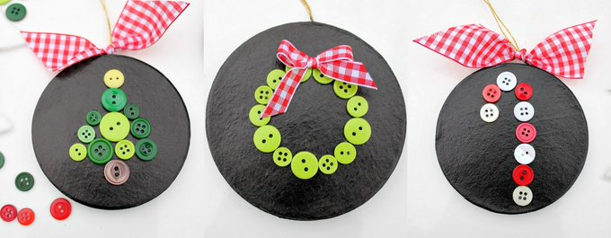 Homemade Button Ornaments bystephanielynn diy buttons diy christmas