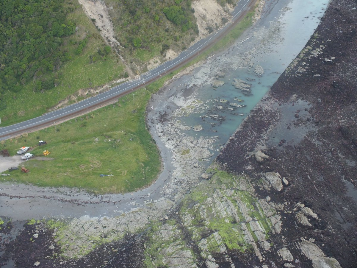 Aerial photographs show the seabed uplift north of Kaikoura - estimated to be between 2 - 2.5 metres. #EQNZ