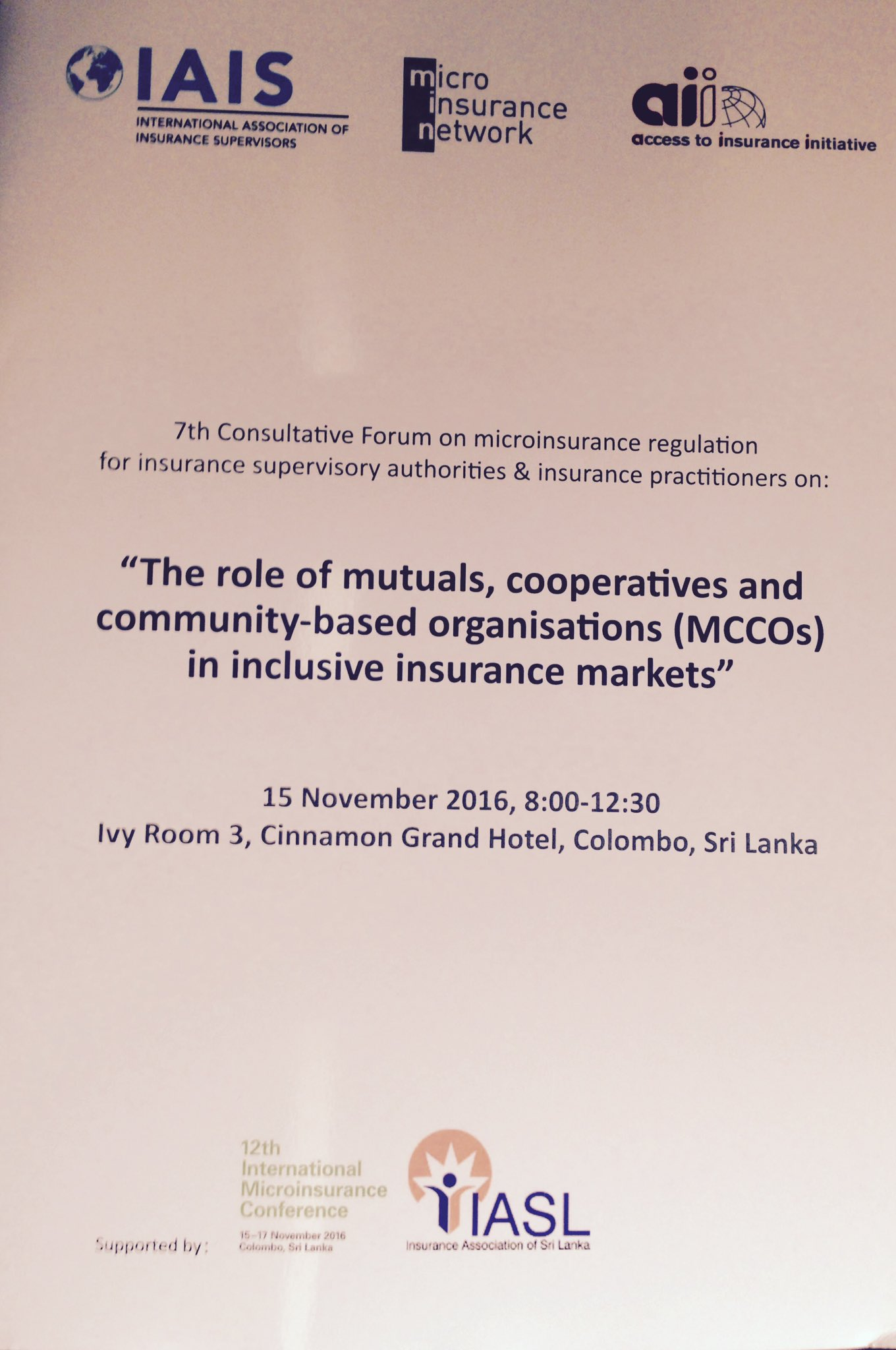 Kicking off our week at #12thIMC w/ 7th A2ii IAIS @NetworkFlash consultative forum on the role of MCCOs in inclusive #insurance markets! https://t.co/a3I9M4B51h