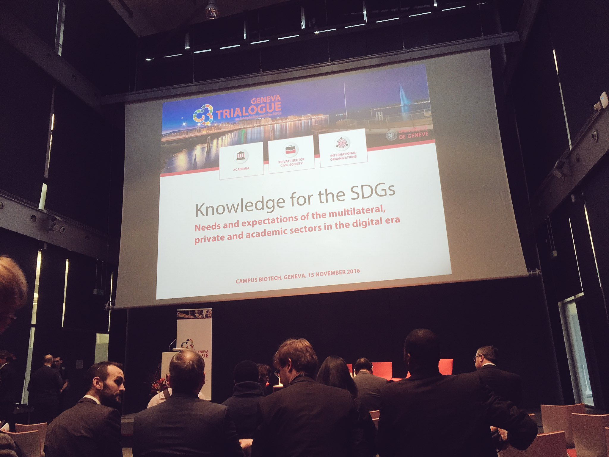 """Linking academia w/ the private sector """"intellectual osmosis"""" 😊 Bring it on #SDGTrialogue @UNIGEnews https://t.co/000GTn0Yuz"""