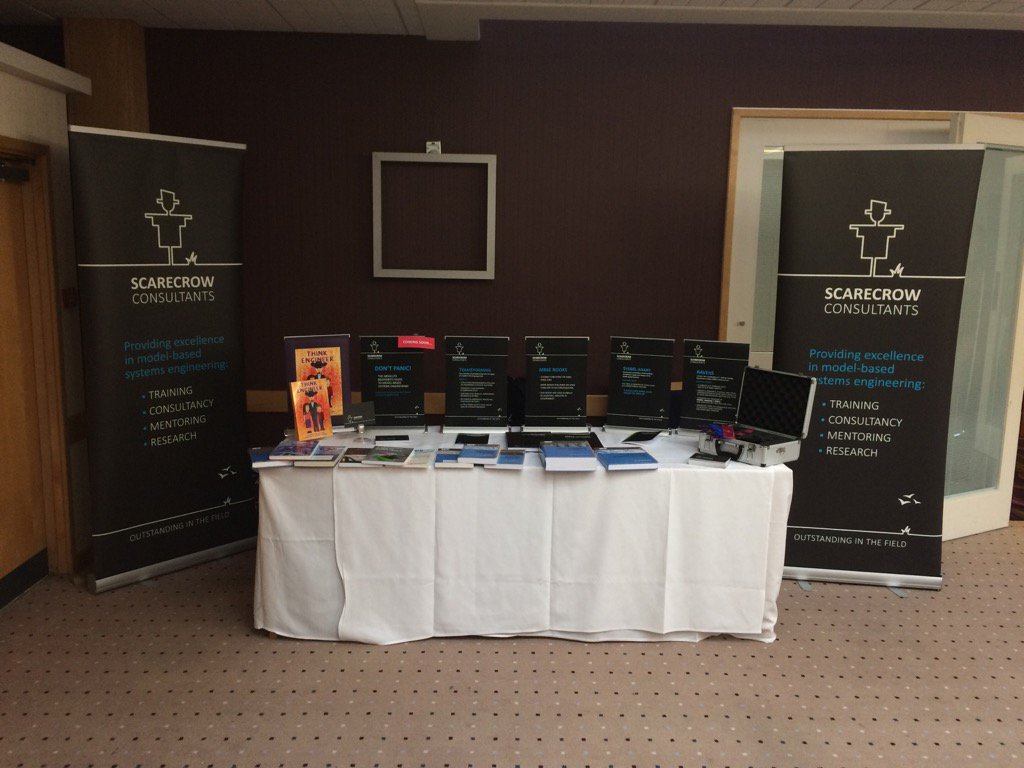 Our stand at this year's INCOSE UK conference. Come along and say hello. @Scarecrow_MBSE #ASEC2016 https://t.co/oEiNtHl7yM