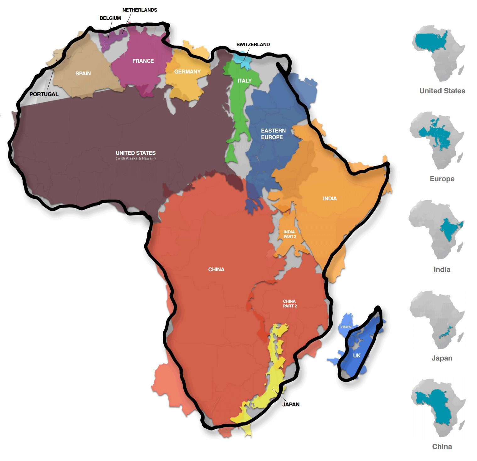 true size of africa This map revealed the true size of africa which is larger than the usa, china, india, japan and all of the europe combined vigilance the realization that what i had been taught and believed for so long is an optical illusion is somewhat unsettling and the broader implication on global leaders unimaginable.