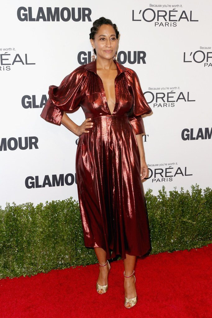Tracee Ellis Ross Wore An Ellery Fall 2016 Burgundy Metallic Dress To The Glamour Women