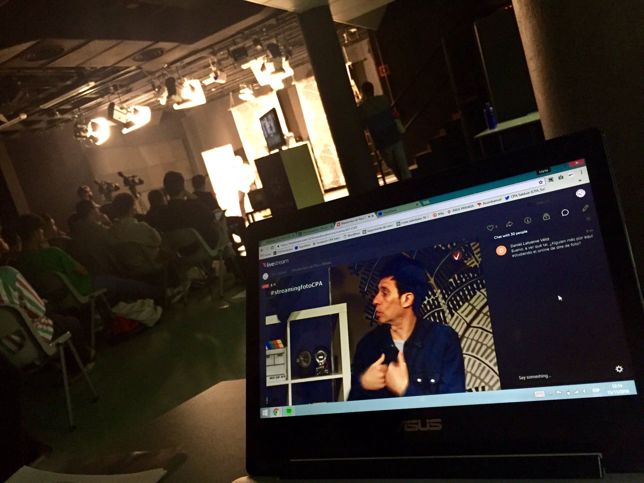 El ordenador desde el que hicieron el streaming (foto sacada del perfil de Twitter del CPA)