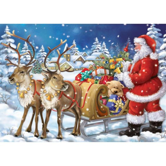 Santa and his reindeer. Mosaic craft kit.Christmas crafts