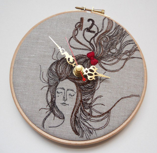 Laura Masons fantastic embroidered clocks waybackhack embroidery diy