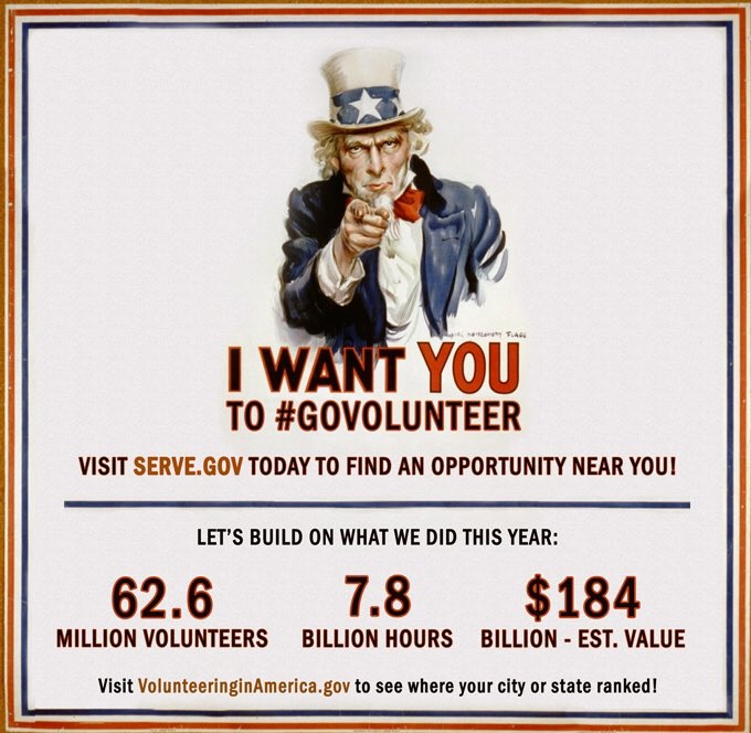 How do you provide America $184 billion dollars in value? You #GoVolunteer! Major
