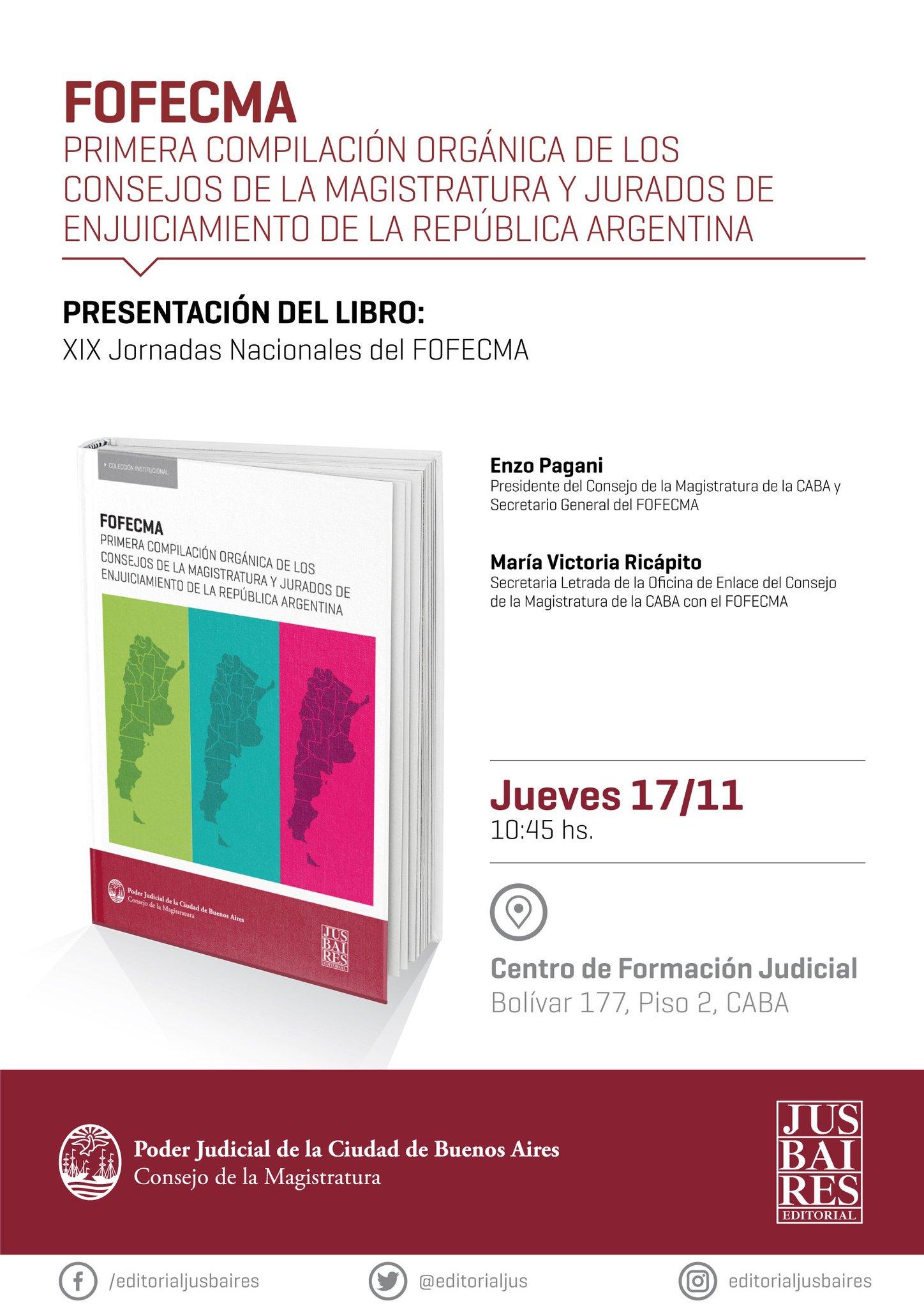 El jueves se presenta el libro FOFECMA en las XIX Jornadas nacionales del @fofecma, ¡te esperamos! https://t.co/pKYqvSkWv0
