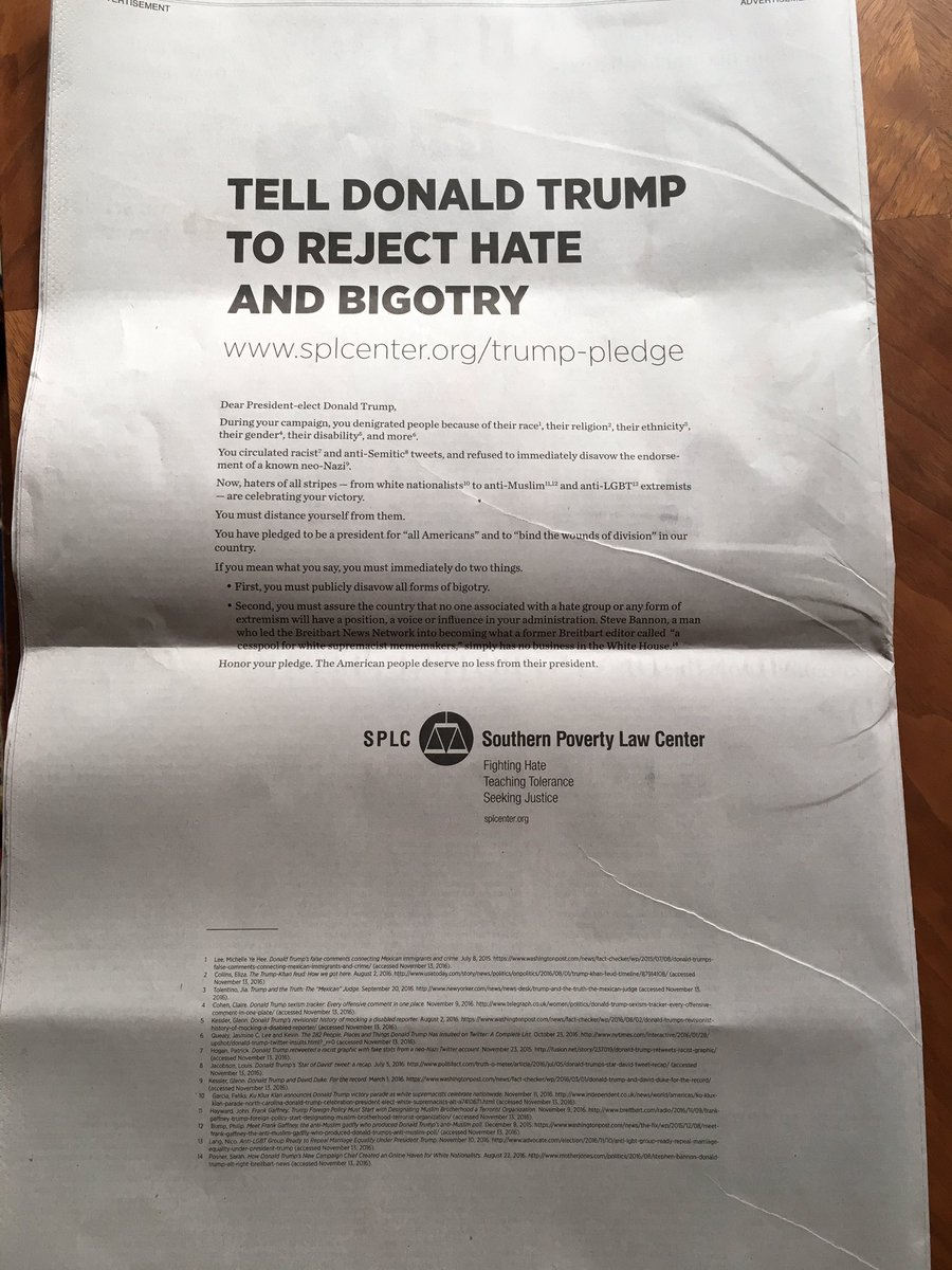 Full-page ad on back of today's Washington Post by @splcenter directed at Trump https://t.co/1M1fpf8jy2