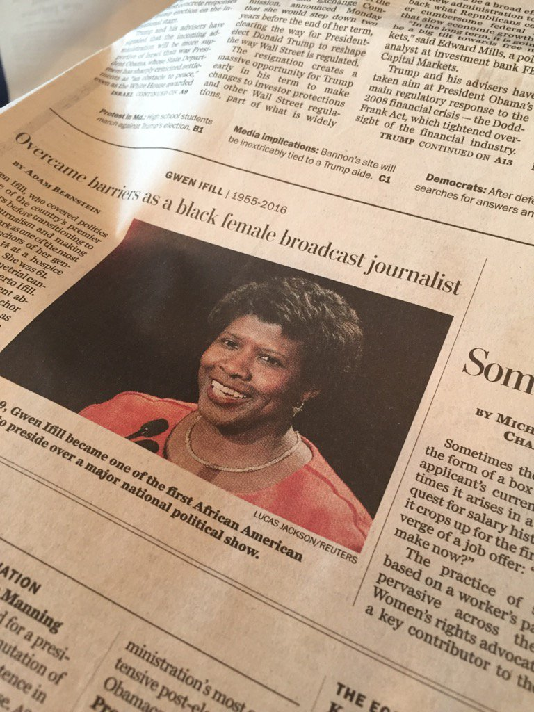 Love the tributes to @gwenifill coming from everywhere, but what a hole she's left in our hearts https://t.co/gKoMIm935C