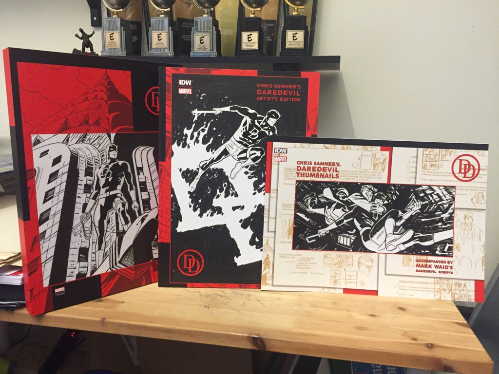Advance copy of @ChrisSamnee Artist's Edition are here--slipcase on left, main book in middle, script book on right! https://t.co/8mqYuhUPxu
