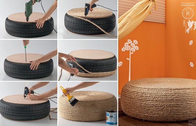 Turn that ratchet old tire into an awesome upcycled DIY rope ottoman! How cool is that!?