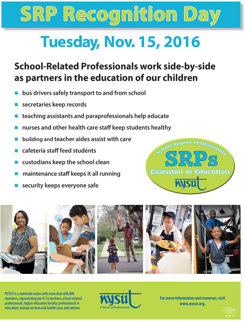 How are you celebrating School-Related Professionals today? Let us know! Use the hashtag #SRPRecognitionDay! https://t.co/bjpgoeQg5n https://t.co/h8Tr0D22u9