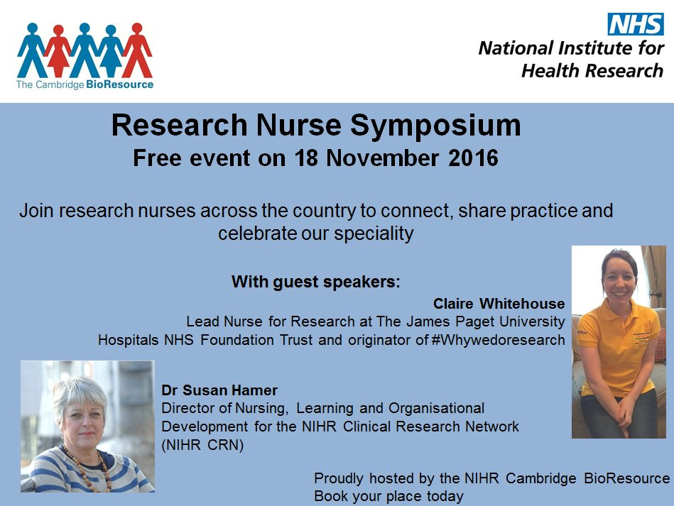 The programme for the Research Nurses Symposium is available  https://t.co/Wi5JPmVpzH #whywedoresearch #CBRsymp16 @OfficialNIHR @CUH_NHS https://t.co/zm81J1AKVO