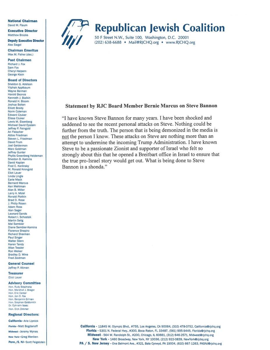 Statement from RJC Board Member Bernie Marcus on Steve Bannon https://t.co/92vMvIK8yj