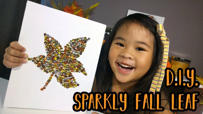 New DIY! Let's make a super sparkly leaf today! autumncrafts fallcrafts craftykids fun