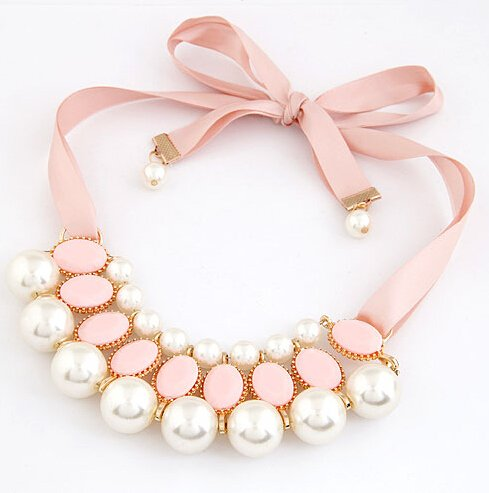 ootd luxury Band Collar Necklaces with Pearl Pendants