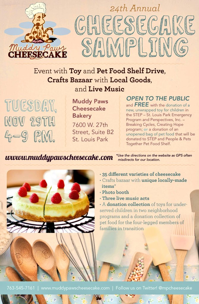 Are you coming to our Cheesecake Sampling and Toy/Pet Food Shelf Drive on 11/29?! I hope so! https://t.co/KBPyNVDxnj https://t.co/mdBzDiu1Be