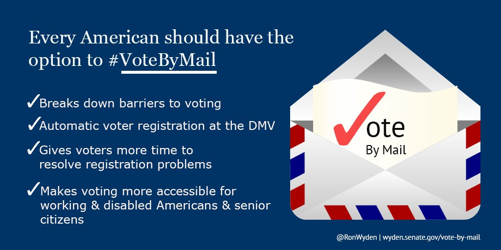Senator Ron Wyden Introduces National Vote By Mail Act https://t.co/HEEnVLSedd via @RonWyden https://t.co/AGf7qYYOko