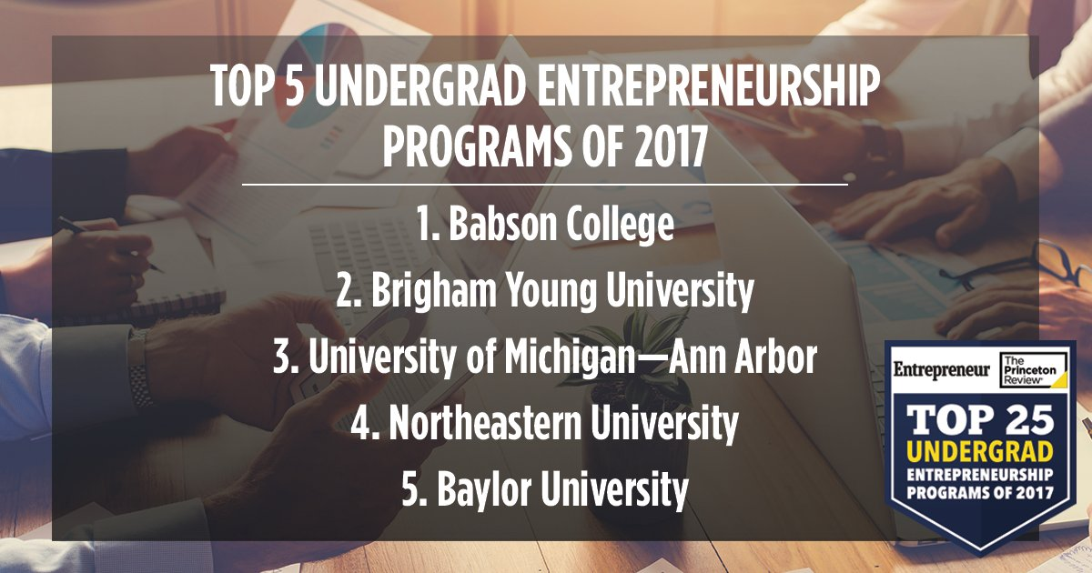 Congrats, top five undergrad schools for Entrepreneurship 2017! @babsoncollegeUG @BYU @UMich @Northeastern @Baylor https://t.co/fbRHszdFKi