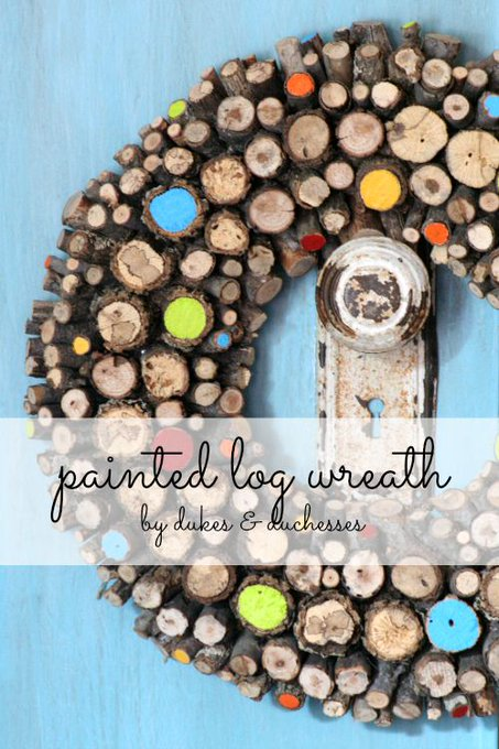 Bring nature inside and add a little color with a painted log wreath! DIY