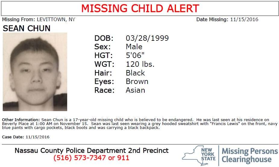 alert Missing Child Alert Sean Chun tall lbs Beverly