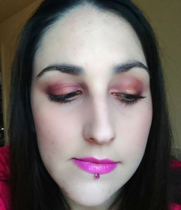 Recent makeupoftheday - red/bronze eyes & pinky-purple lips! MOTD FOTD bbloggers makeup