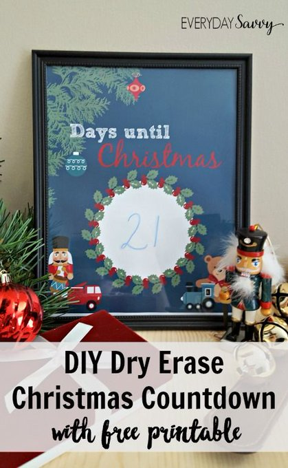 Easy DIY Countdown to Christmas Printable - Dry Erase Frame