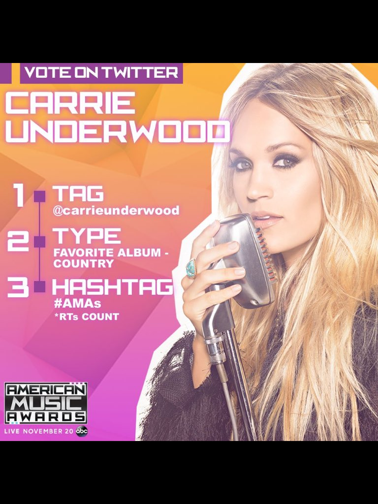 @carrieunderwood Artist of the year. #AMAs https://t.co/kTnwfGb0Xb
