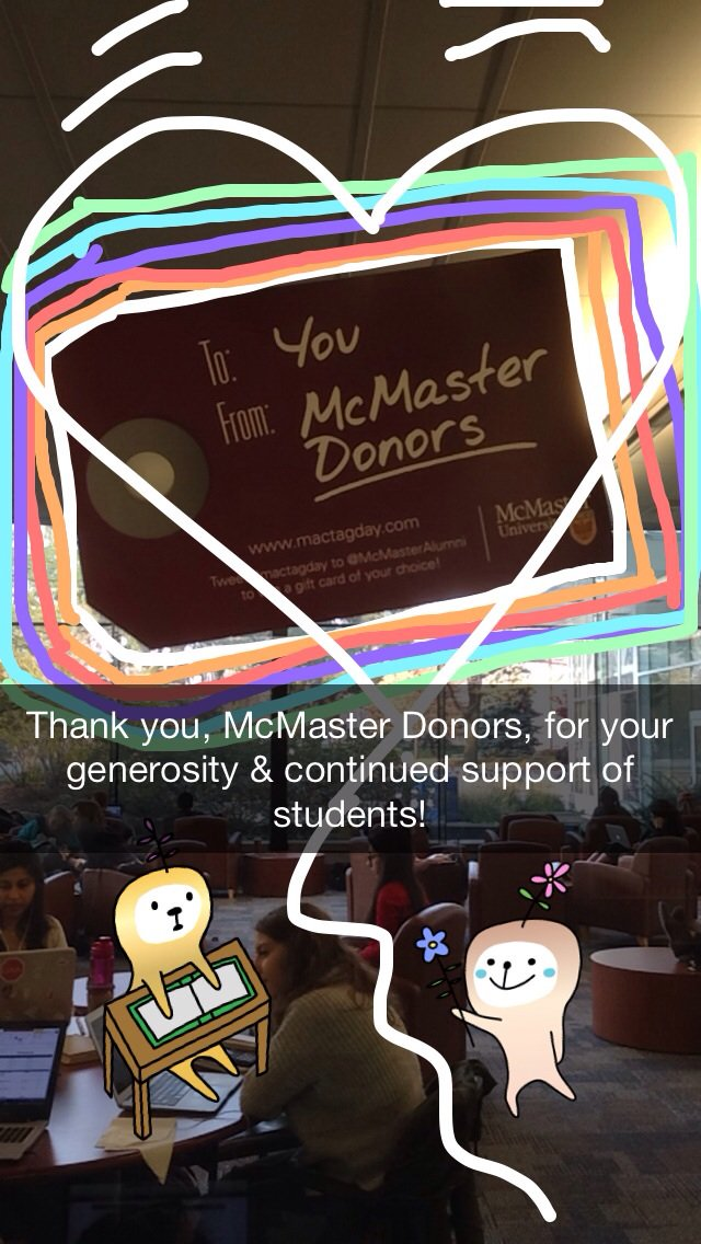 Thank you for making this beautiful space in HSL and many more things possible. We ❤️ you! #MacTagDay @McMasterAlumni https://t.co/uKg2cSvrm7