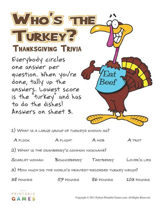 Thanksgiving: Who's the Turkey? Trivia DIY BestParties PrintAtHome
