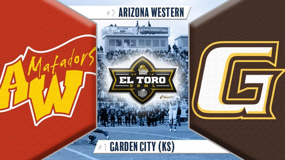2016 NJCAA Championship Game – El Toro Bowl #1 Garden City (10-0) vs. #2 Arizona Western (11-0)  @NJCAA #BowlBid Day https://t.co/I5xFqBsVVM