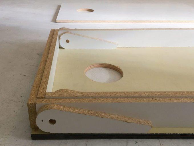 My DIY Cornhole boards fold up and nest together! -