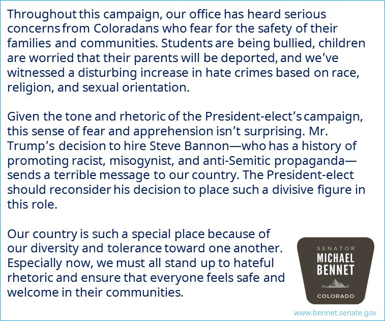 We must all stand up to hateful rhetoric and ensure that everyone feels safe and welcome in their communities. https://t.co/ztJg6LyhIs