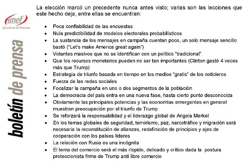 #Trump, perspectivas económicas para México y #volatilidad del peso, temas en la conferencia de prensa IMEF: https://t.co/vavK4jDGcC https://t.co/hLe1Pjeh4A