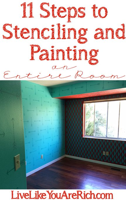 How to Paint and Stencil an Entire Room diy crafts homeupdate