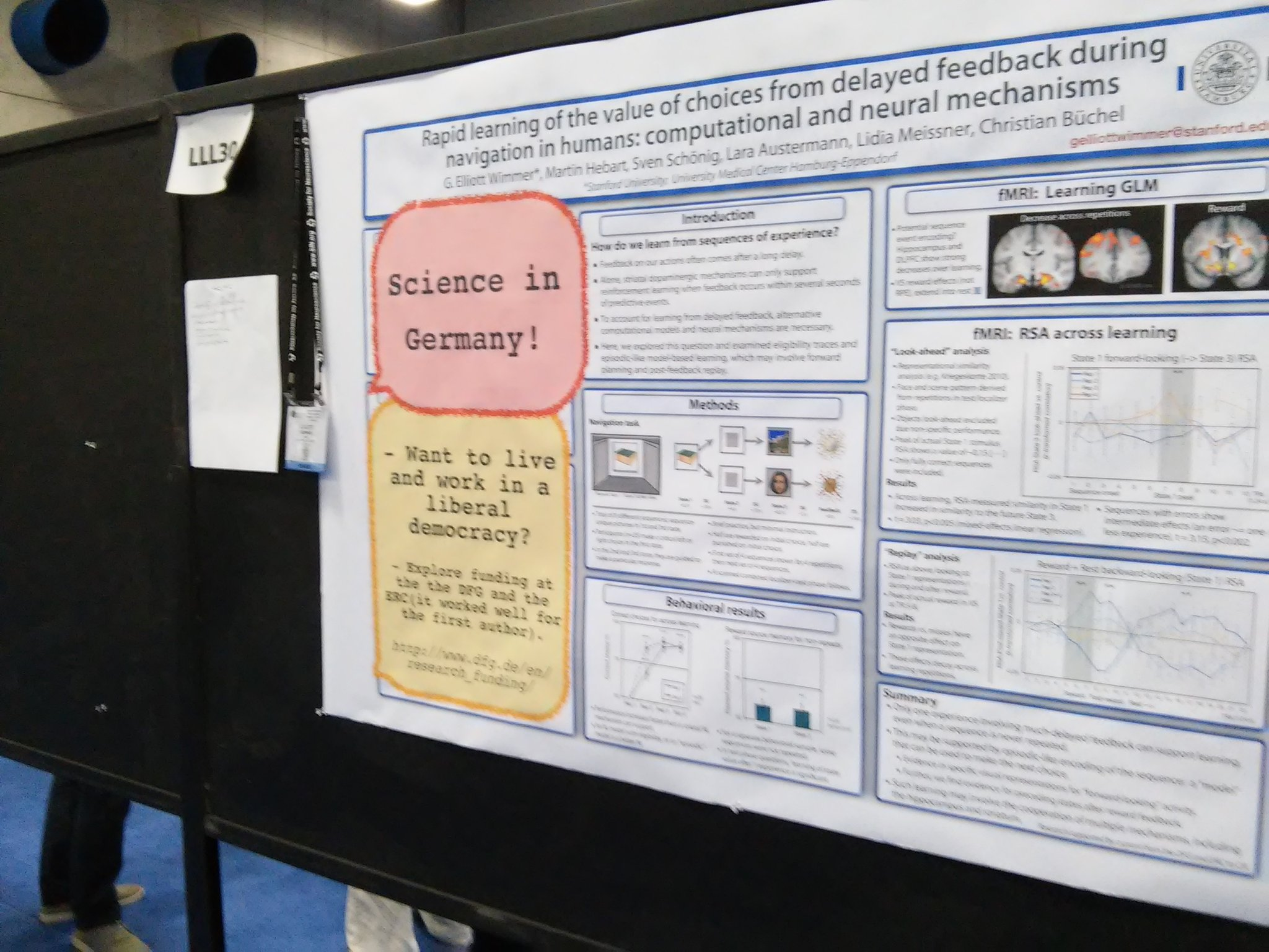 "Postet LLL30 Eliott Wimmer: ""look-ahead"" fMRI activity during delay in reward learning task #sfn16 #plos https://t.co/fTOc3lAOBg"