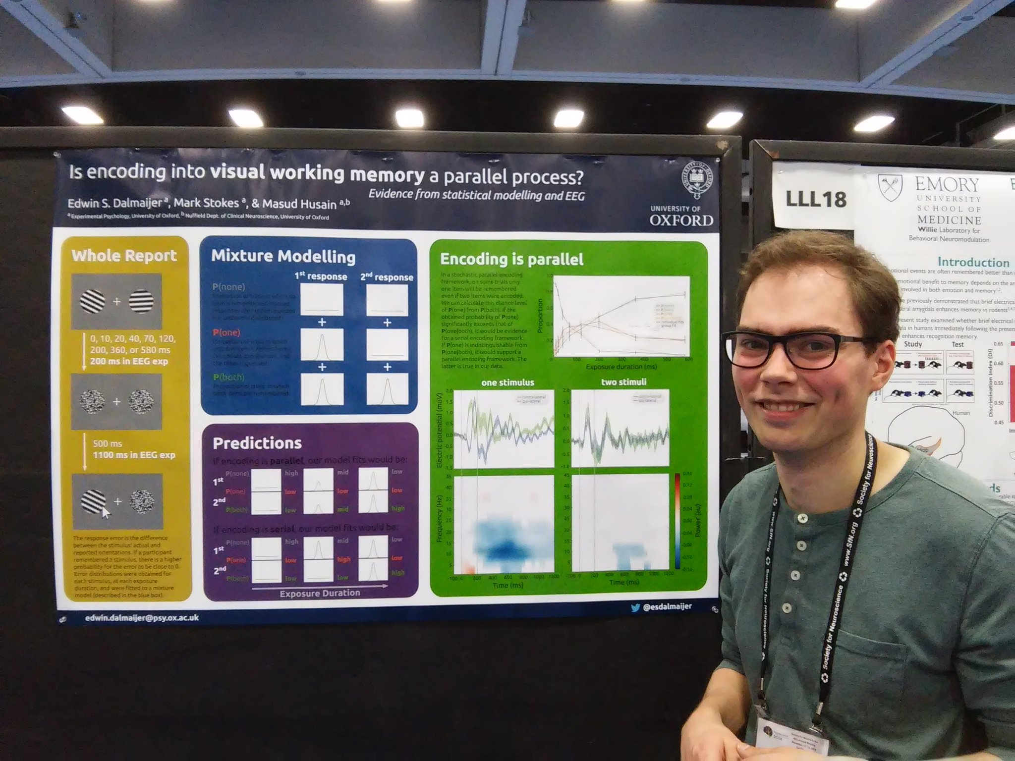 Poster LLL19 @esdalmaijer uses statistical models & EEG to distinguish parallel from sequential encoding in WM #sfn16 #plos https://t.co/fIhG192WtD