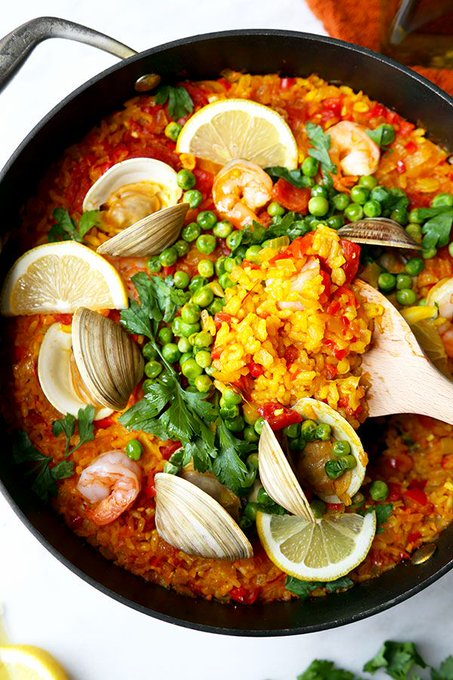 A wistful reminder of a time and place through a bite of food.Easy Seafood Paella ://