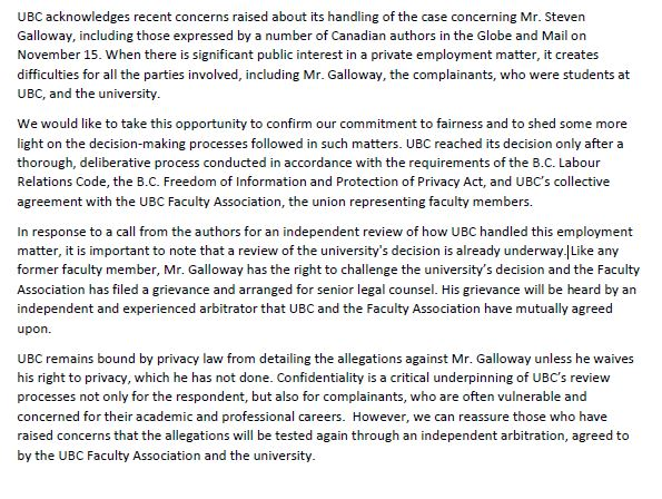 Statement from @UBC on writers asking for independent investigation into Steven Galloway affair. https://t.co/IkLss5bXd0