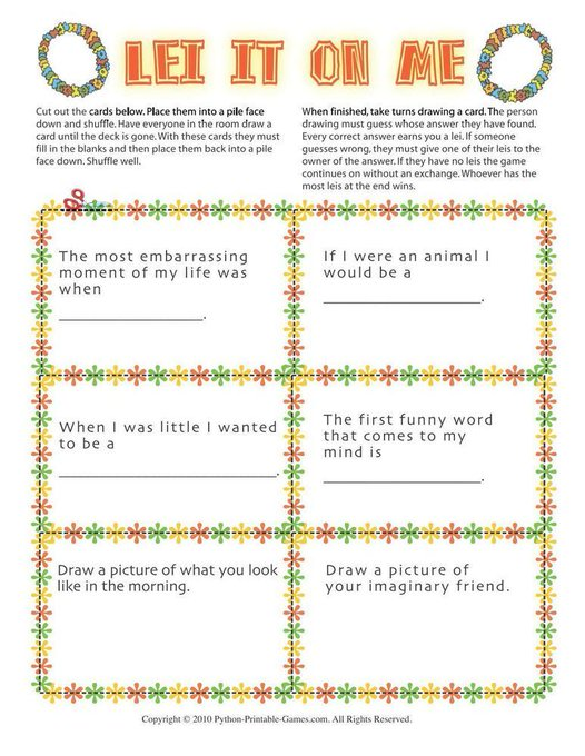Hawaiian Luau Party: Lei It On Me DIY PrintableGame BestParties