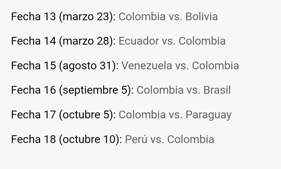 Aquí están los partidos que le faltan a Colombia. #EliminatoriaRusia2018 https://t.co/edVa6ul1wr