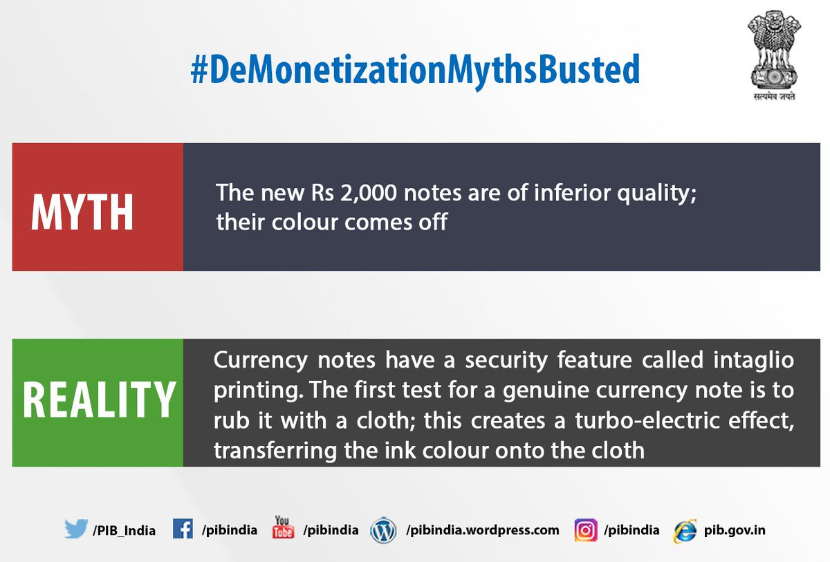 Pib India On Twitter 14n Demonetisationmythsbusted 10 Rupee