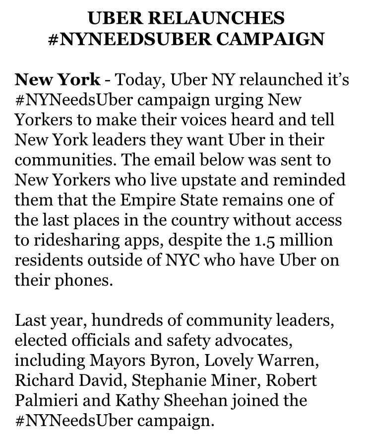 UBER relaunches #NYNEEDSUBER campaign.  #Buffalo among areas outside NYC with no access. @WKBW @JeremyWGR https://t.co/IB9ikMBUIe