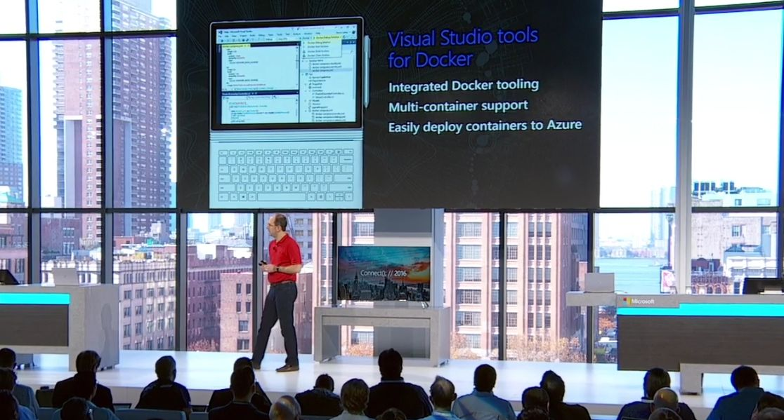 OH YES! #VisualStudio Tools for #Docker just announced at #MSFTConnect by @scottgu. https://t.co/xanBCNlXu3